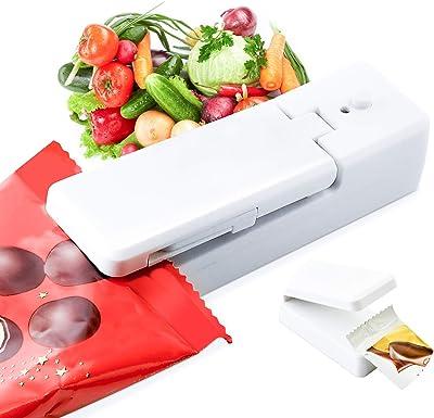 Sellador de bolsas mini, sellador de bolsas cargable, sellador de vacío de bolsa de mano, cortador 2 en 1 para sellado de alimentos, cocina, máquina de sellado portátil para almacenamiento de aperitivos, galletas frescas, bolsas de plástico