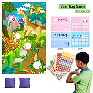 Dinosaur Toss Game Dinosaur Birthday Party Supplies - Toss Games Banner,Bean Bags,Reward Stickers,Game Scorecards Dino Party Favor Cornhole Game for Adults Kids