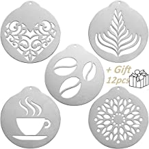 JENNIMER 5Pcs Coffee Stencils, Stainless Steel Printing with 12Pcs Hello Kitty Templates and 1Pcs 5inch Expander,Barista C...