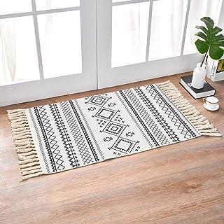 INKARO Tapis en coton tissé avec pompon - Pour cuisine, salon, chambre, buanderie, entrée (60 x 90 cm, losange blanc)