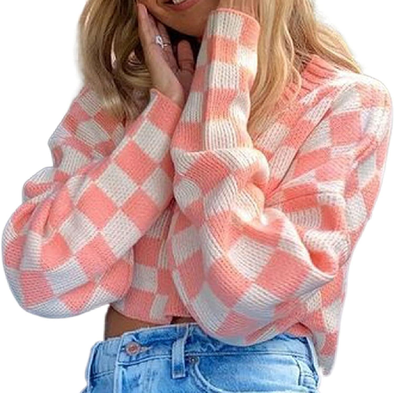 Women Girls Print Y2K Knit Sweater Long Sleeve Floral Cartoon Pattern Knitwear Pullovers 90s Fashion Autumn Winter Streetwear