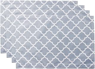 ColorBird Geometric Series Trellis Place Mat Water Resistant Spillproof Microfiber Fabric Table Doily Placemats, 13 x 19 Inch, Set of 4, Light Gray