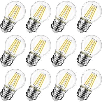 Bombilla LED G45 E27 Filamento 4W Equivalencia 40W,450Lm Cristal Vintage,Mini Bombilla Globo Regulable,Blanco C/álido 2700K 4 Unidades