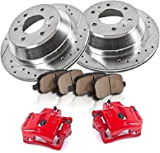 CCK12412 REAR Powder Coated Red [2] Calipers + [2] 6 Lug Rotors + Quiet Low Dust [4] Ceramic Pads Performance Kit