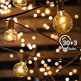 Guirnaldas Luces Exterior Avoalre 10m 30+3 Bombillas Guirnalda Luces Exterior G40 Impermeable IP65 Decoracion Navidad, Festivales, Bodas, Cobertizos, Patios, Jardines, Pérgolas -Blanco Cálido