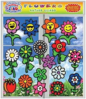 Flowers Flexible Gel Clings - Window Clings for Kids and Adults - Sunflower, Rose, Tulip, Daisy Reusable Gel Decals for Gl...