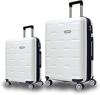 Polypropylene Premium-Expandable 2-Piece Luggage TSA Lock | Fully Fabric Lined Interior | 360 Degree Rotation Airplane Wheels | Extreme Weather Resistant | Set 20