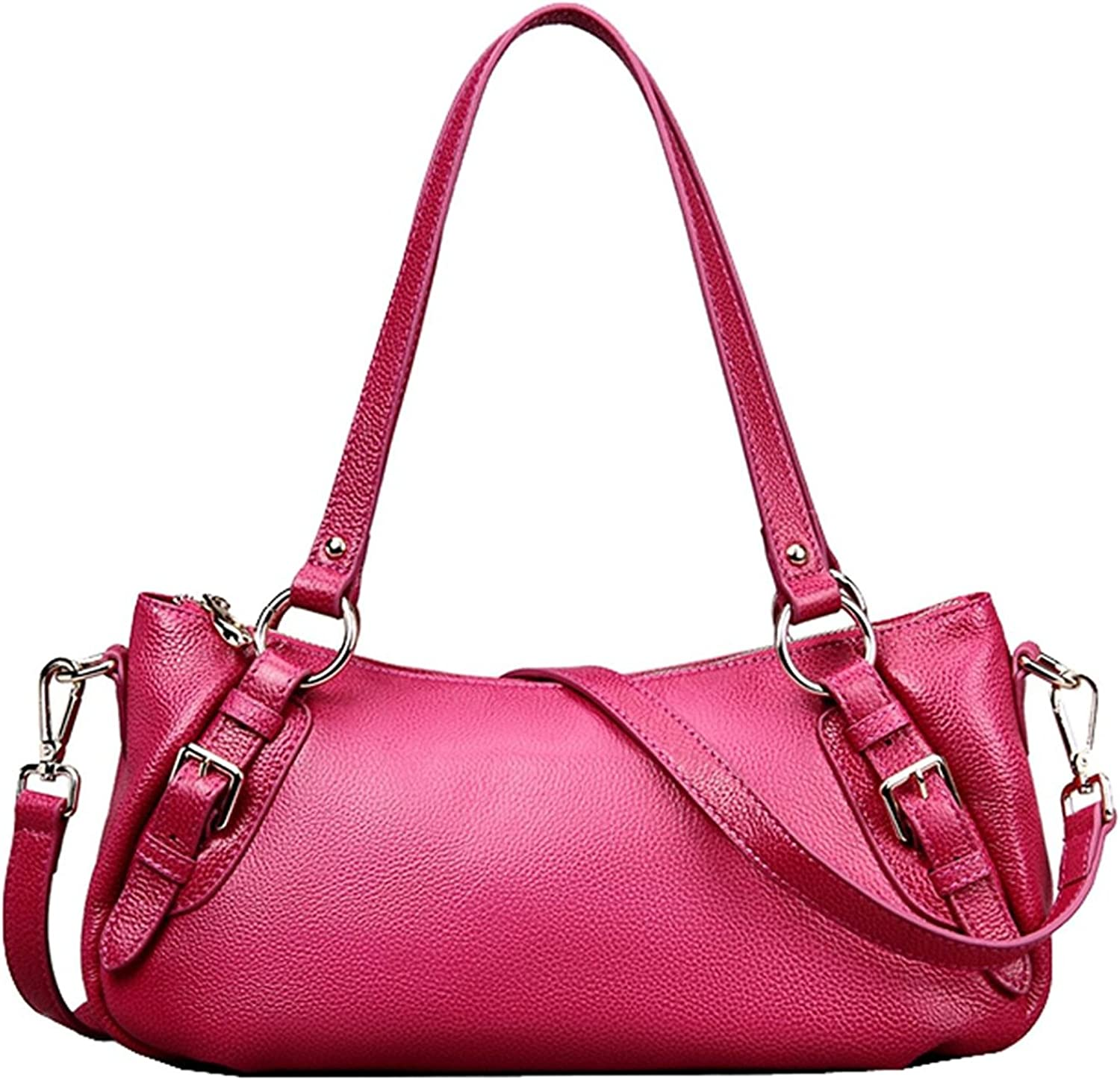 Colnsky Women's European And American Style First Layer Of Leather Tophandle Tote Shoulder Messenger Bag Cross Body Purse Vintage Handbag pink Red New Style