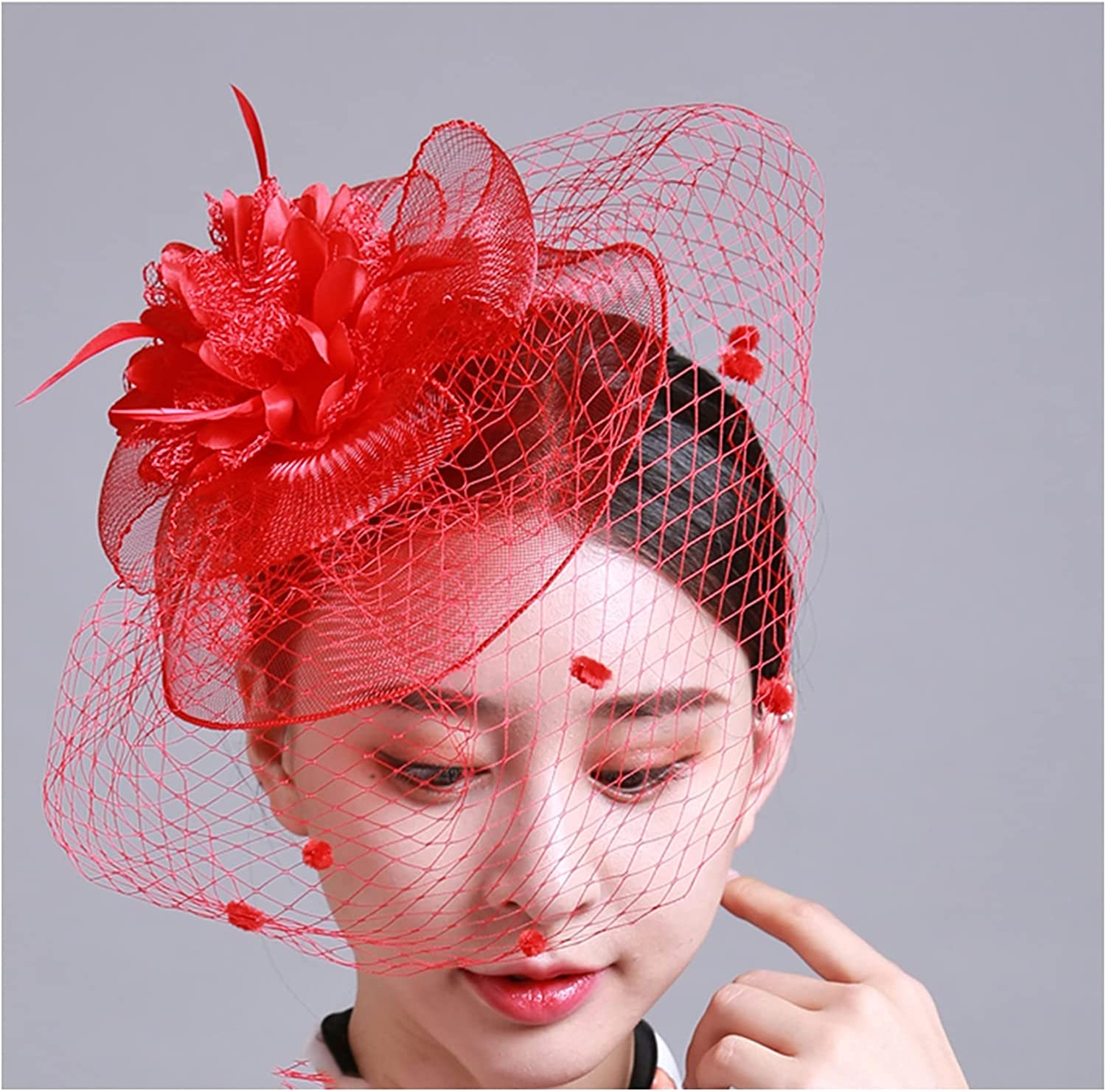 ZXFF Women's Charming Hats, Cocktail Party Tea Party Hairpin Headgear and Girl's Veil, Wedding Hat Veil for Special Occasions (Color : B)