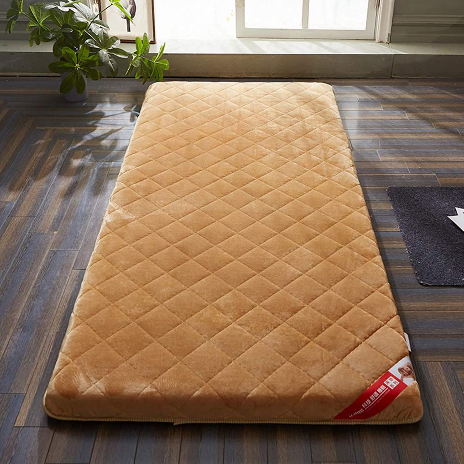 Breathable Japanese Traditional futon Mattress,Folding Compact Fluffy Thick 6cm 10cm Non-Slip Tatami Student dormitory-6cm Thick Light tan Full 120x200cm(47x79inch)