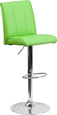 Contemporary Green Vinyl Adjustable Height Barstool with Chrome Base