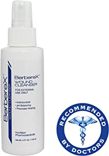 BerbereX Antimicrobial Wound Cleanser for Cuts, Scrapes, Burns, Incisions, Piercing Aftercare, Wounds, Wound Care, First Aid Antiseptic Spray, Pressure Sores, Diabetic Ulcers, Skin Spray - 4 oz.