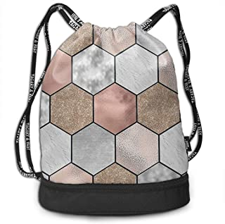 Men & Women Premium Polyester Drawstring Backpack Rose Gold Marble Texture Geometry Daypack Theft Proof Lightweight For School Soccer Baseball Bag Large Size For Camping, Runner
