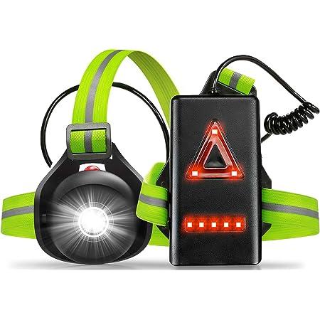 SGODDE Lauflicht,wiederaufladbare USB LED Lauflampe,Brust Lampe wasserdicht Outdoor Sport,90/° Einstellbarer Abstrahlwinkel,500 Lumen 360/° reflektierendes Band,Leichtgewichtige Lampe zum Laufen