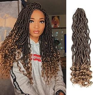 Lihui 6Pcs/Lot Goddess Locs Crochet Hair Wavy Faux Locs with Curly Ends Faux Locs Crochet Hair Synthetic Braiding Hair (14inch, 1B/27)