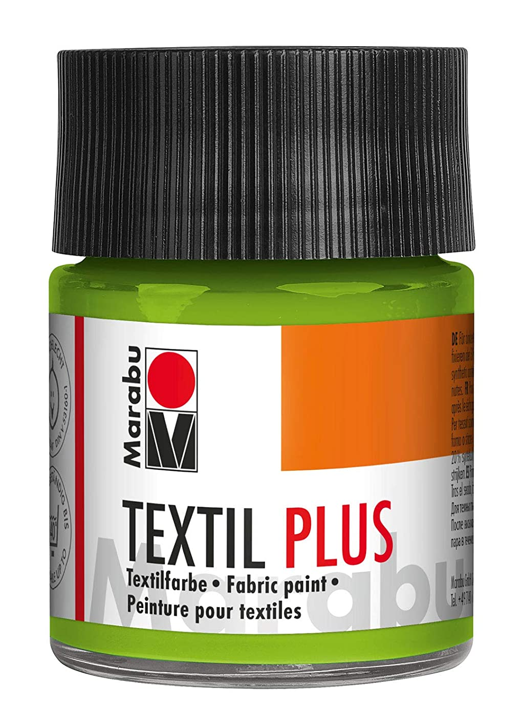 Marabu Textil Plus 17150005061 Full Coverage Fabric Paint for Dark Fabrics Suitable for Fabric Painting and Fabric Printing Washable up to 40 °C 50 ml Reseda