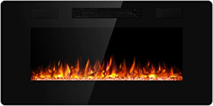 JAMFLY Electric Fireplace Wall Mounted 36 Inch Insert 3.86 Inch Super Thin Electric Fireplace Recessed Fit for 2 x 6 and 2 x 4 Stud Adjustable 12 Flame LED Bed Colors Remote Control with Touch Screen