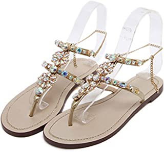 BlingNicer New Woman Sandals Women Shoes Rhinestones Crystal Chains Thong Flat Sandals Chaussure Plus Size 35-47