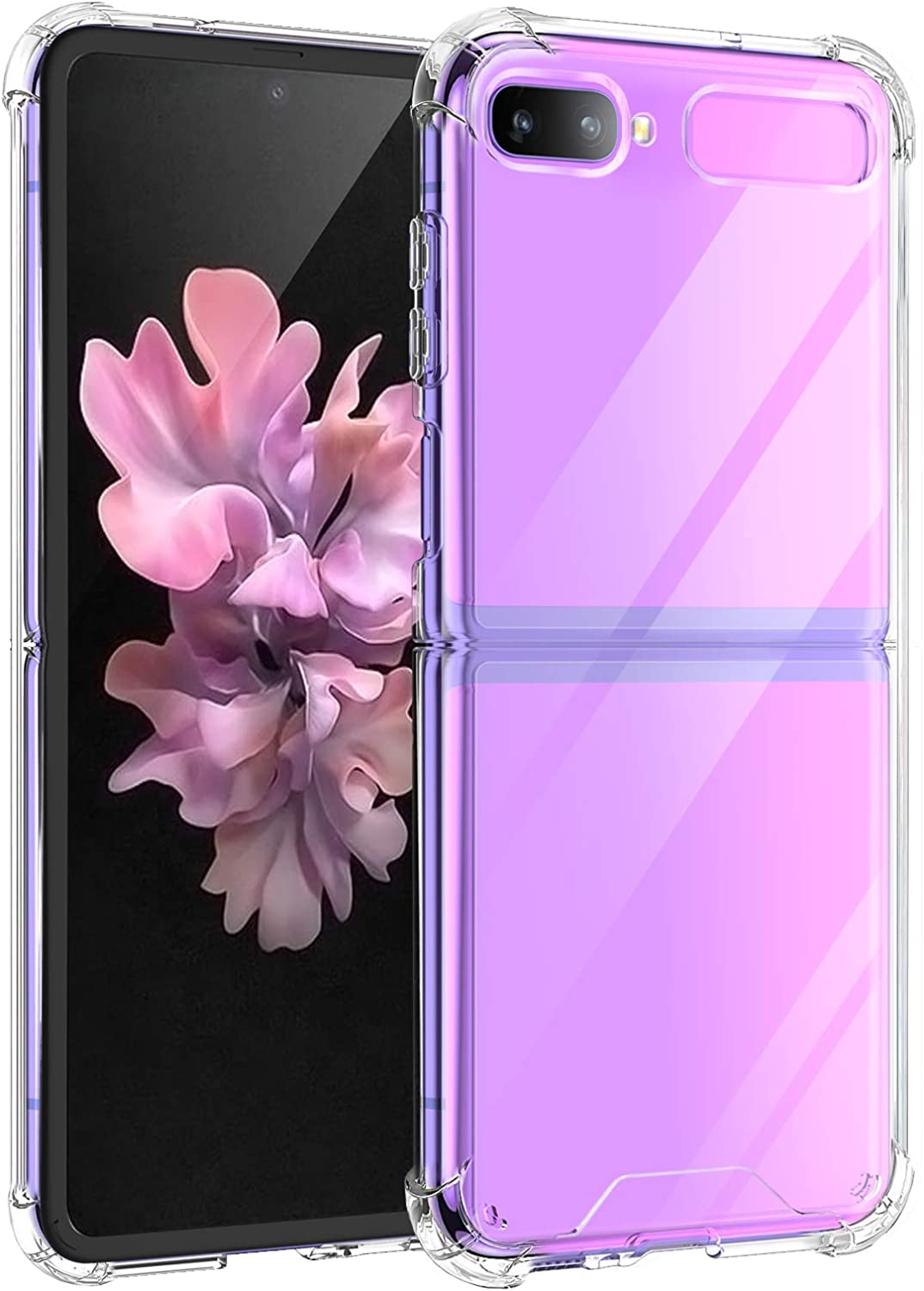 Newseego Compatible with Samsung Galaxy Z Flip Case 2020 4G/5G Clear Crystal Hard PC and Soft TPU Rubber Bumper Protective Shockproof Anti-Scratch Transparent Support Wireless Charging