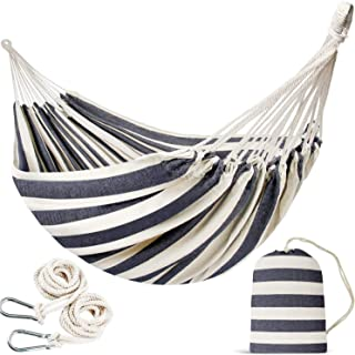 INNO STAGE Double Size Cotton Hammock - Woven Hammock Two Person Hanging Camping Bed for Patio, Backyard, Porch, Outdoor a...