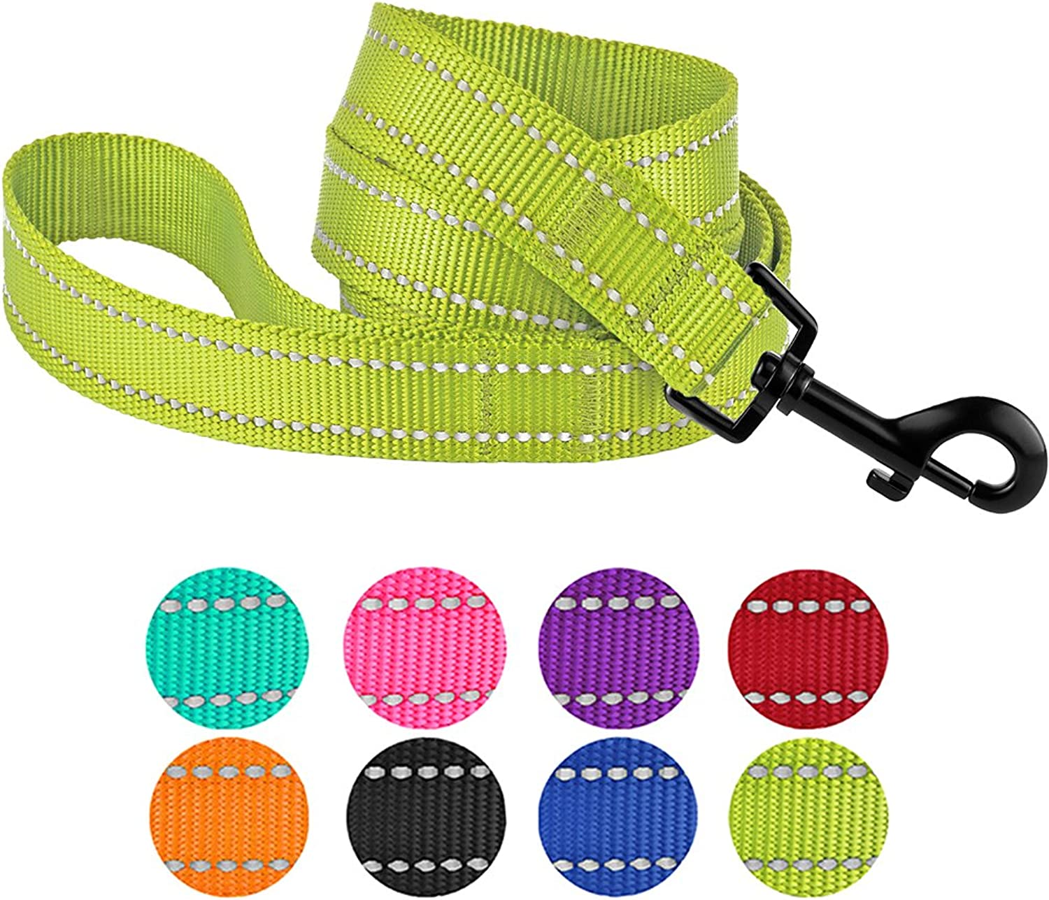 CollarDirect Nylon Dog Leash 5ft for Daily Outdoor Walking Running Training Heavy Duty Reflective Pet Leashes for Large, Medium & Small Dogs (L, Lime Green)