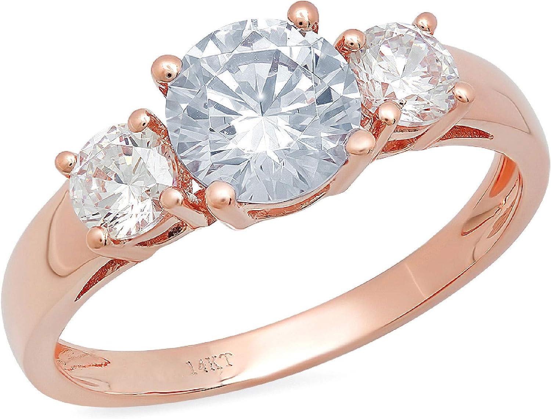 1.50 ct Brilliant Round Cut Solitaire 3 stone Genuine Flawless Natural Aquamarine Gemstone Engagement Promise Statement Anniversary Bridal Wedding Ring Solid 18K Rose Gold
