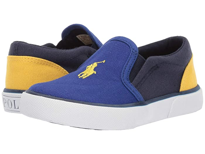 Polo Ralph Lauren Kids  Bal Harbour II (Toddler) (Royal/Navy/Yellow Canvas/Yellow Pony) Kids Shoes