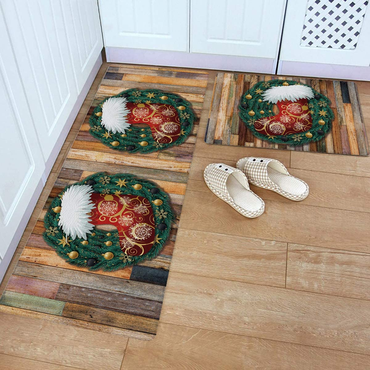 Ranking TOP18 2 shopping Piece Kitchen Rugs Set Leather Mats Sock w Christmas Standing