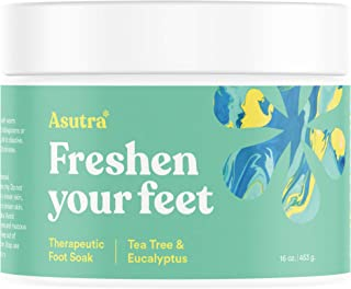 ASUTRA Therapeutic Foot Soak + Pedicure Pumice Stone (Dead Sea Salt w/Tea Tree & Eucalyptus Oils), 16 oz | Improves Circulation | Reduces Swelling | Relieves Itching & Burning | Fights Foot Odor