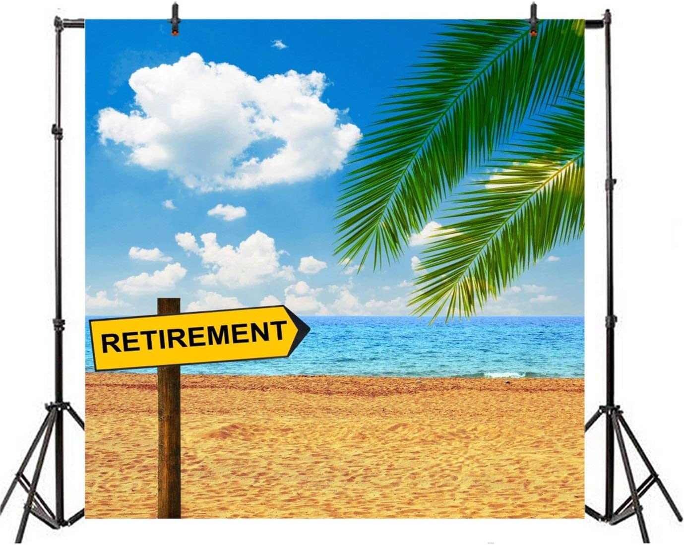 SZZWY 4x4ft Background for Retirement Wooden Indicator on Beach Photography Backdrop Life Style Enjoy Life Freedom Seaside Vacation Summer Sea Tropical Tour Photo Studio Props Polyester Wallpaper