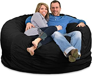 ULTIMATE SACK Bean Bag Chairs in Multiple Sizes and Colors: Giant Foam-Filled Furniture - Machine Washable Covers, Double Stitched Seams, Durable Inner Liner. (6000, Black Suede)