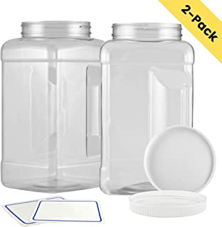 2-Pack: 1 Gallon Empty Plastic Storage Container With Wide Mouth Airtight Lid | Tall Square Clear Pinch Grip Jar | Great For Food Storage, Kitchen Pantry, Liquids | BPA Free, Chemical & Freezer Safe