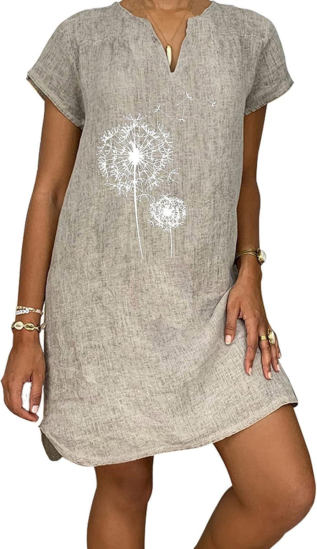 Women Summer Plus Size Dresses V Neck Sundress Dandelion Graphic Mini Shift Dress Short Sleeve Beach Dress Casual Skirt
