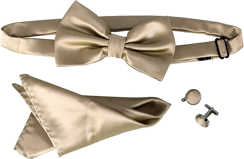 Peach Couture Mens Pre-tied Adjustable Tuxedo Bow Tie Cufflinks Pocket Square Set
