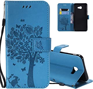 HMTECHUS Samsung J4 Core case Elegant Embossing cat Tree Handmade Magnetic Flip PU Leather Stand Card Holders Shockproof P...