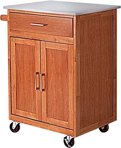 popular Giantex sale new arrival Wood Kitchen Trolley Cart Rolling Kitchen Island Cart with Stainless Steel Top Storage Cabinet Drawer and Towel Rack online sale