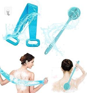 Wuudi Ensemble de brosses de bain pour le dos, brosse de douche, brosses de bain en silicone, poils super doux et longue p...