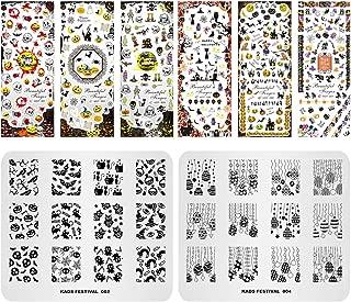 KADS 2pcs Halloween Nail Stamping Plate+2pcs 3D Nail Sticker Template Image Design Plates for Nail Art Decoration and DIY Nail Art