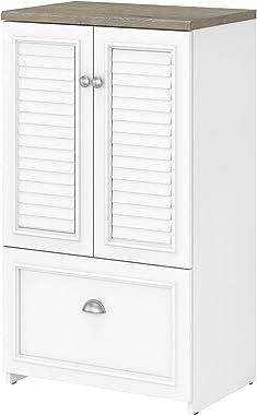 Bush Furniture Fairview Lateral File Storage Cabinet, Shiplap Gray/Pure White