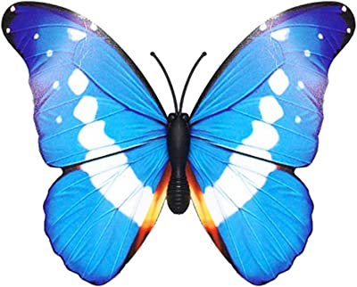 AB Tools Yellow,Blue /& Black Metal Butterfly Garden//Home Wall Art Ornament 35x32cm