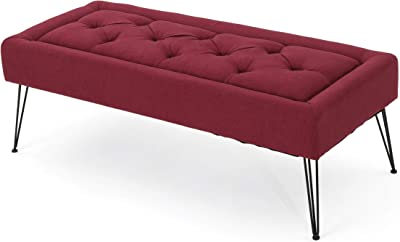 Christopher Knight Home Zyler Tufted Fabric Ottoman, Deep Red