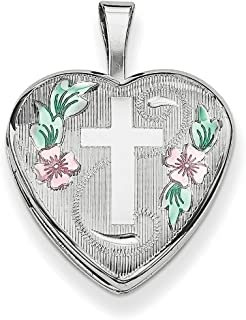 Lex /& Lu Sterling Silver w//Rhodium 26mm Mother and Baby Oval Locket-Prime