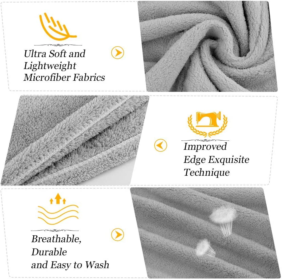 NONE-BRANDED Microfibre Hair Towel Wrap Quick Dry Hair Turban Towels Set Super Absorbent Hair Caps With Button And Loop For Women Girl Wet//Long//Curly//Thick Hair