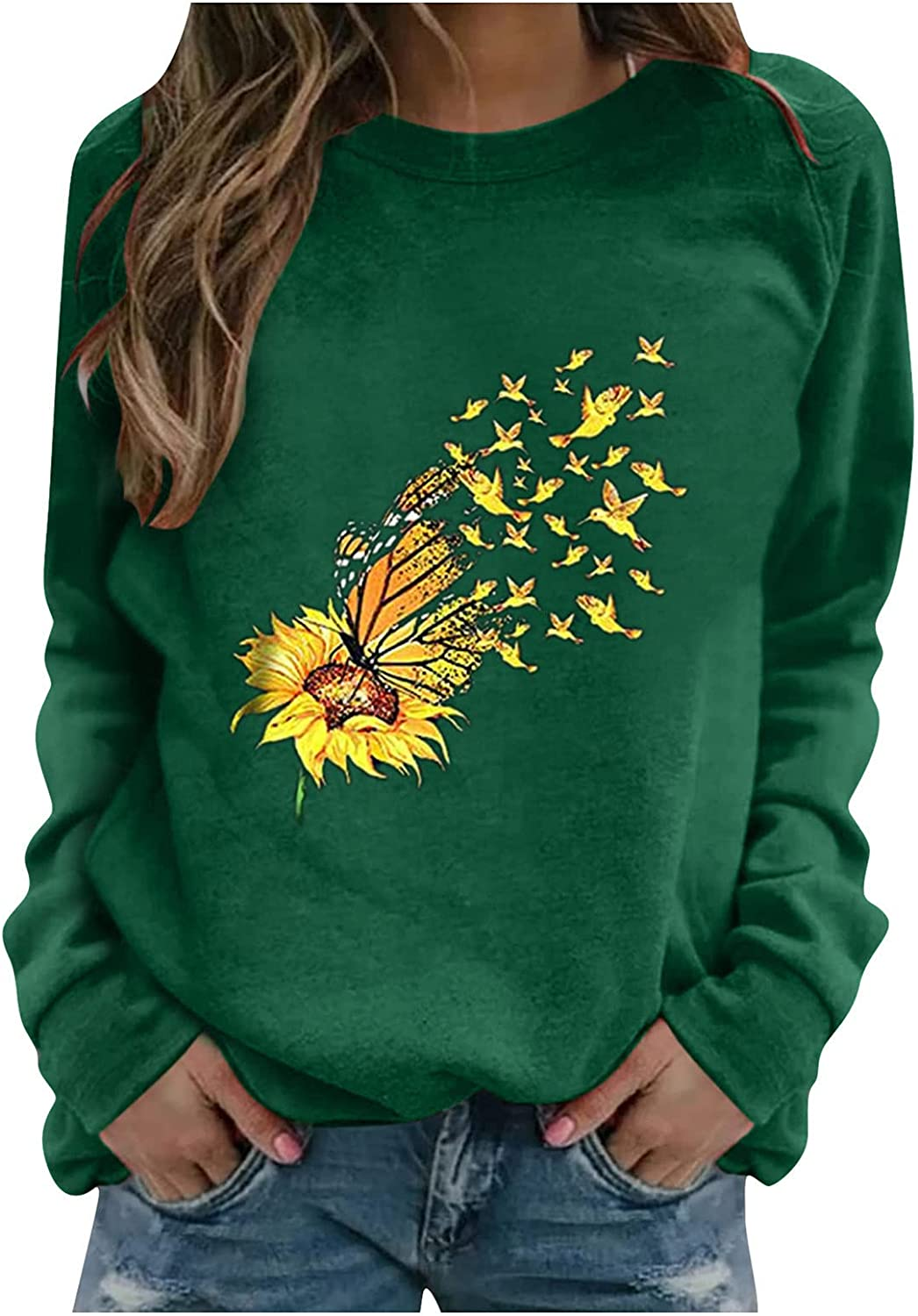 Oiumov Sweatshirts for Women Hoodie Pullover Plus Size Print Long Sleeve Tops Pullover Jumper Sweater Shirts Blouse