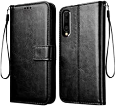 Frazil Vintage Leather Flip Cover Case for Samsung Galaxy A50/A50s/A30s | Inner TPU | Foldable Stand | Wallet Card Slots - Pitch Black