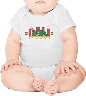 California cali Strong Bear Logo Short Sleeve Neutral Baby Onesie Outfits Funny for Newborn Boys Girls