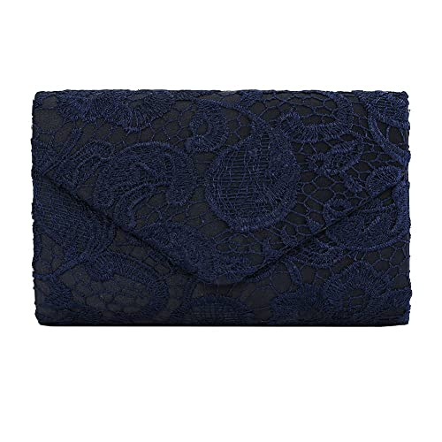 c12758adaae7 Ladies Satin Lace Envelope Clutch Bag