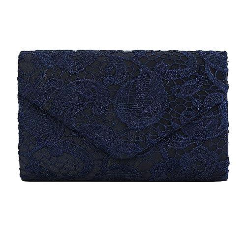 cca47b3e57e Ladies Satin Lace Envelope Clutch Bag, Clorislove Evening Shoulder Bag for  Bridal Wedding Handbag Prom