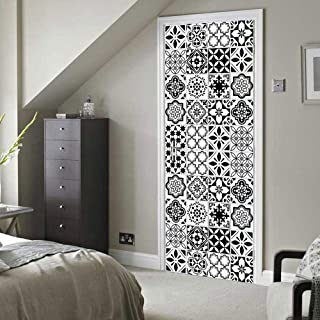 April Ruth Window Films Static Window Cling Paper,Pure White Black Ceramic Tile Imitation Door Mural DIY BedroomDoor Renovation Self Adhesive Door Stickers Home Decor Decal New (30.3 x 78.7 Inch)
