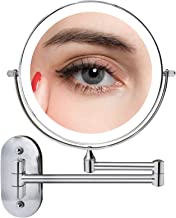FASCINATE Wall Mounted Lighted Vanity Mirror 8 Inch 1X/10X Magnifying Makeup Mirror with 3 Color Lights, Double Sided Dimm...